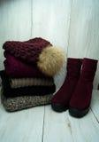 Стильные ботинки зимы ` s женщин с мехом, шарфом и шляпой Стоковые Фото