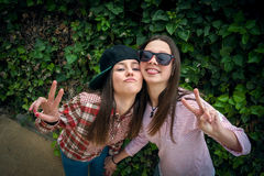 Стильные девушки в парке Стоковое Фото