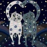Стильные коты влюбленности идут Стоковое Изображение