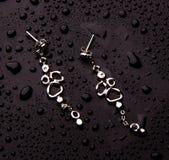 Стильные серебряные ювелирные изделия с падениями воды изолированные на фиолетовой предпосылке Стоковые Фото