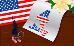 Стильный американский дизайн День независимости 4-ое июля США иллюстрация вектора