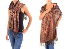 Стильный женственный шарф с восточной картиной Стоковое Изображение RF
