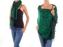 Стильный женственный шарф с восточной картиной Стоковое Изображение