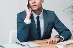 Стильный молодой бизнесмен говоря на smartphone и смотря прочь в офисе Стоковые Фотографии RF