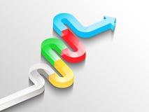 Стильный серпентин 3D в форме стеклянной линии стрелок Стоковая Фотография RF