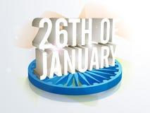 Стильный текст 26th январь на день республики Стоковое Изображение RF