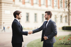 2 стильных бизнесмена тряся руки в костюмах Стоковая Фотография RF