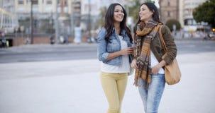 2 стильных женщины беседуя outdoors в городке Стоковая Фотография RF