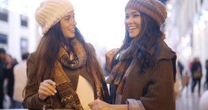 2 стильных молодой женщины в моде зимы Стоковое Фото