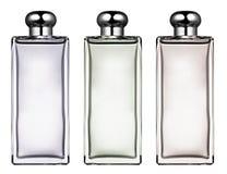 3 стильных прямоугольных стеклянных бутылки Стоковые Фото