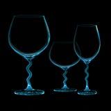 3 стильных чашки изолированной на черной предпосылке Стоковые Фотографии RF