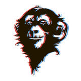 Стиль анаглифа стороны 3D обезьяны Стоковая Фотография RF
