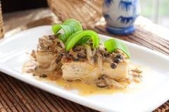 Стиль вегетарианской тарелки тофу китайский Стоковое фото RF