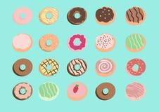 Стиль вектора Donuts нарисованный рукой Стоковые Фото