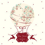Стиль воздушного шара рождественской открытки винтажный Стоковое Изображение