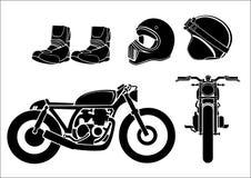 Стиль гонщика r кафа мотоцикла изображения сбор винограда типа лилии иллюстрации красный Стоковое Изображение RF