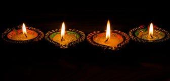 Стиль 4 горя красочных свечей индийский для celebratio Diwali Стоковые Фотографии RF
