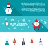 Стиль знамени рождества и Нового Года установленный современный плоский Бесплатная Иллюстрация