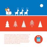 Стиль знамени рождества и Нового Года установленный современный плоский Иллюстрация вектора