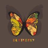 Стиль значка бабочки с тенью на коричневой предпосылке Стоковое Изображение RF