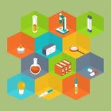Стиль значка науки равновеликий Медицинское собрание символа Стоковые Фото
