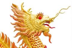 Стиль золотого дракона китайский на белом искусстве предпосылки Стоковые Изображения