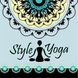 Стиль диаграммы силуэта картины мандалы йоги человека в Стоковое Изображение RF