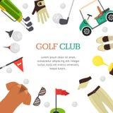 Стиль дизайна знамени гольф-клуба плоский вектор Стоковые Изображения