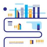 Стиль дизайна предпосылки городского пейзажа современный плоский Бесплатная Иллюстрация
