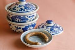 Стиль картины Азии античный крася handmade на дуновении керамическом Стоковая Фотография