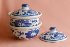 Стиль картины Азии античный крася handmade на дуновении керамическом Стоковые Фото