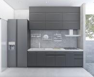 стиль кухни просторной квартиры перевода 3d около открытой террасы Стоковая Фотография RF