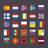 Стиль метро значка флага Европы установленный Стоковое Изображение