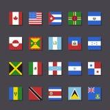 Стиль метро значка флага Северной Америки установленный Стоковая Фотография RF