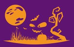 Стиль ночи хеллоуина плоский Стоковые Фото