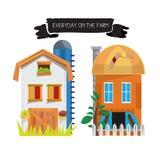Стиль дома фермы шарж - Стоковое Изображение RF