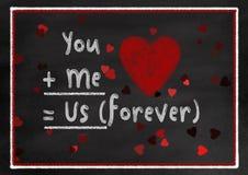 Стиль доски мела вы и я карточка валентинки Стоковая Фотография RF