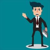 Стиль персонажа из мультфильма бизнесмена усмехается и держит att Стоковые Фотографии RF