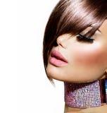 Стиль причёсок. Девушка красоты модельная стоковое фото rf
