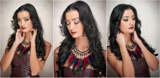 Стиль причёсок и состав - шикарный женский портрет искусства с красивыми глазами элегантность Неподдельное естественное брюнет в  Стоковая Фотография RF