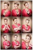 Стиль причёсок и состав, шикарный женский портрет искусства с красивыми глазами элегантность Неподдельная естественная блондинка  Стоковое Изображение