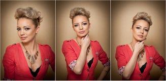 Стиль причёсок и состав, шикарный женский портрет искусства с красивыми глазами элегантность Неподдельная естественная блондинка  Стоковая Фотография