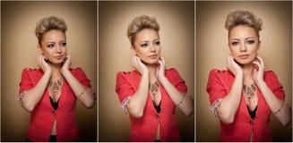 Стиль причёсок и состав, шикарный женский портрет искусства с красивыми глазами элегантность Неподдельная естественная блондинка  Стоковая Фотография RF