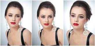 Стиль причёсок и составляет - красивый женский портрет искусства с серьгами элегантность Неподдельное естественное брюнет с ювели Стоковые Изображения RF