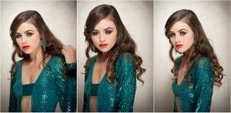 Стиль причёсок и составляет - красивый женский портрет искусства с красивыми глазами элегантность Длинное брюнет волос в студии П Стоковое Изображение RF