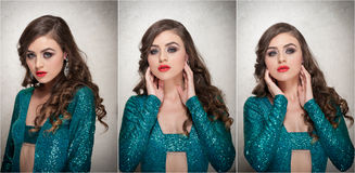 Стиль причёсок и составляет - красивый женский портрет искусства с красивыми глазами элегантность Длинное брюнет волос в студии П Стоковая Фотография