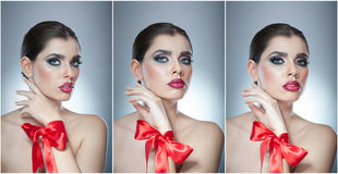 Стиль причёсок и составляет - красивый женский портрет искусства с красной лентой элегантность Неподдельное естественное брюнет с Стоковое Изображение