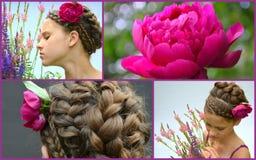 Стиль причёсок для длинных волос и пиона, коллажа Стоковые Изображения RF