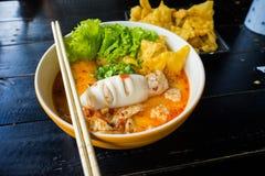 Стиль пряной лапши тайский Стоковое Фото
