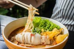 Стиль пряной лапши тайский Стоковое Изображение